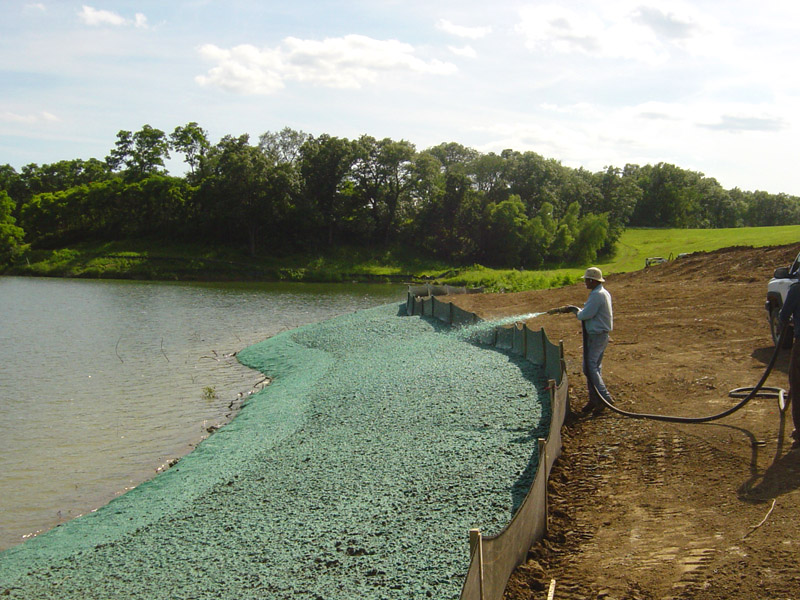 Erosion and mulch protection along pond and wetland edges