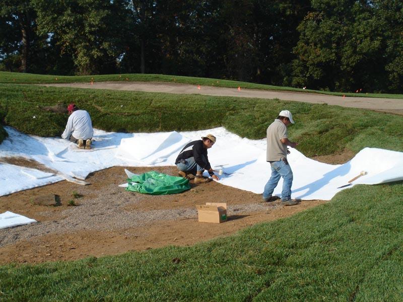 Sandtrapper bunker liner installed prior to sand